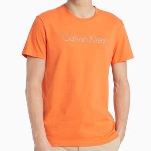 NWT CALVIN KLEIN MEN'S ORANGE CREW NECK T-SHIRT
